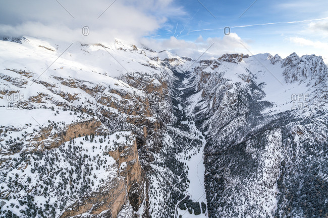 Aerial view of Vallunga, Monte Stevia and Cir group in winter, Val Gardena, Dolomites, Trentino-Alto Adige, Italy, Europe