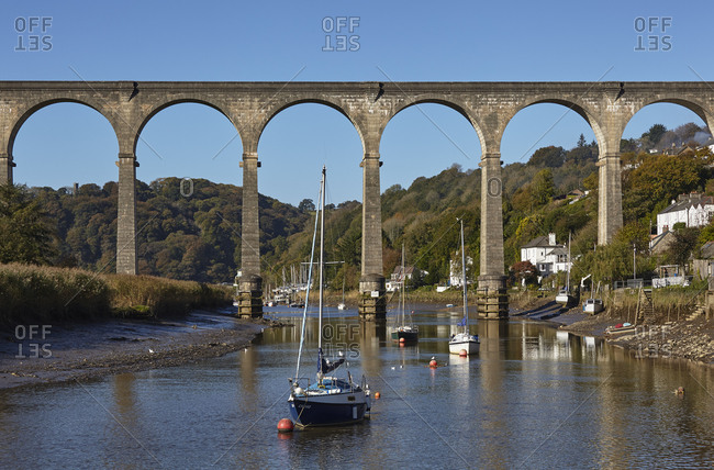 October 22, 2018: A railway viaduct across the River Tamar, at Calstock, on the Devon-Cornwall border, in east Cornwall, England, United Kingdom, Europe