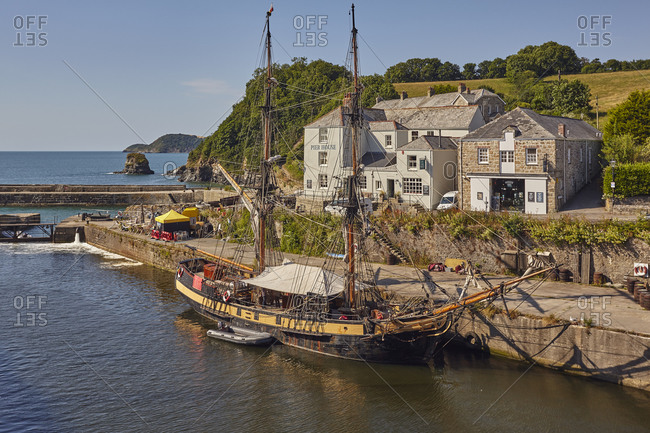 July 3, 2018: The harbor at Charlestown, near St Austell, on Cornwall's south coast, used for movie sets, especially TV drama Poldark, Charlestown, Cornwall, England, United Kingdom, Europe