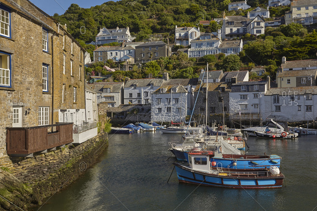 June 27, 2018: One of Cornwall's most famous attractions, the ultimate quintessential Cornish fishing village of Polperro, on the south coast, Cornwall, England, United Kingdom, Europe