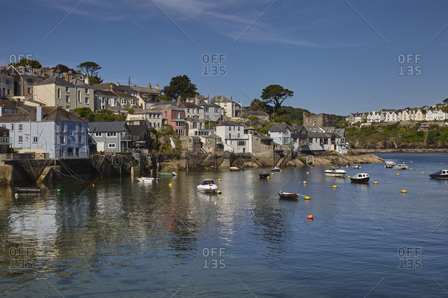 The riverside village of Polruan, in the mouth of the River Fowey, near the town of Fowey, southern Cornwall, England, United Kingdom, Europe