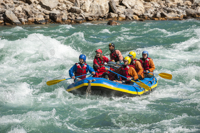November 19, 2012: Rafting through white water rapids on the Karnali River in west Nepal, Asia