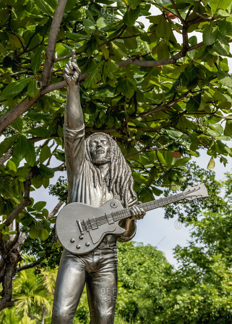 February 18, 2020: Bob Marley Statue in front of the Bob Marley Museum, 56 Hope Road, Kingston, Saint Andrew Parish, Jamaica, West Indies, Caribbean, Central America