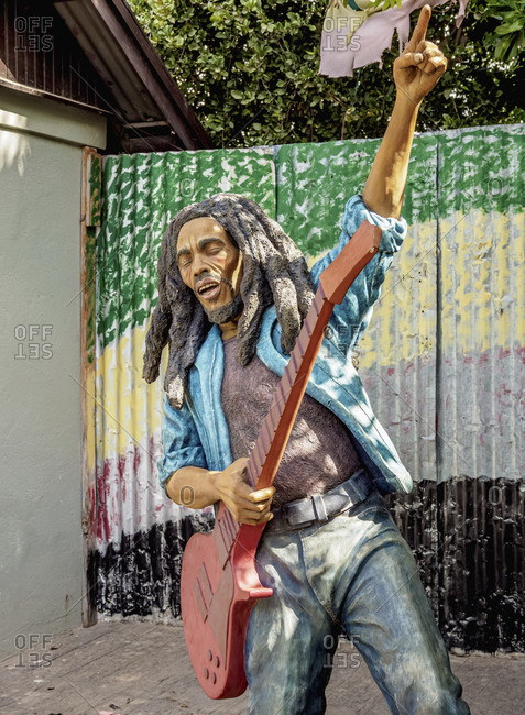 February 19, 2020: Bob Marley Statue at Culture Yard, Trench Town, Kingston, Saint Andrew Parish, Jamaica, West Indies, Caribbean, Central America