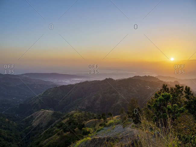 Blue Mountains at sunset, Saint Andrew Parish, Jamaica, West Indies, Caribbean, Central America