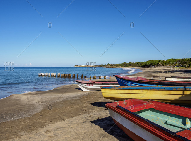 March 3, 2020: Fishing Boats at Great Bay Beach, Treasure Beach, Saint Elizabeth Parish, Jamaica, West Indies, Caribbean, Central America