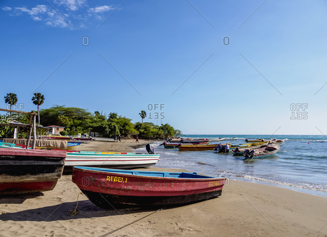 March 3, 2020: Fishing Boats at Frenchman's Beach, Treasure Beach, Saint Elizabeth Parish, Jamaica, West Indies, Caribbean, Central America