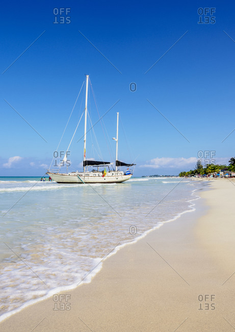 March 1, 2020: Sailing Ship at Seven Mile Beach, Long Bay, Negril, Westmoreland Parish, Jamaica, West Indies, Caribbean, Central America