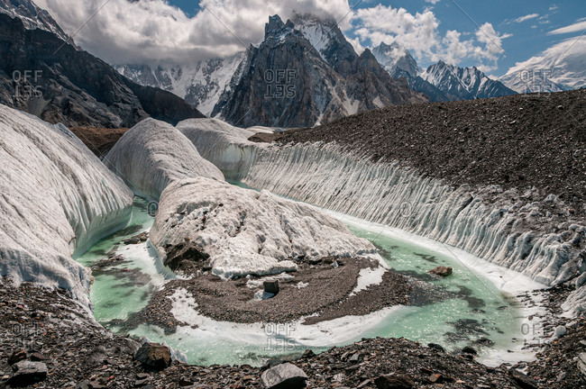 July 22, 2011: A Glacial river on the Baltoro Glacier at Concordia near K2, in the Karakoram range in northern Pakistan, Asia
