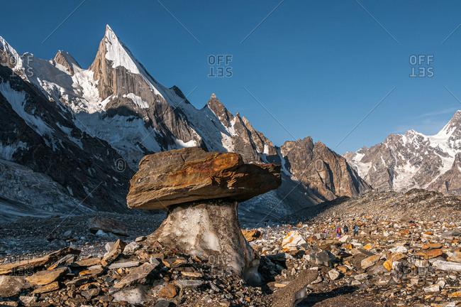 July 25, 2011: Laila Peak in the Hushe Valley, glacial table in the foreground, Karakoram Range, Gilgit-Baltistan, Pakistan, Asia