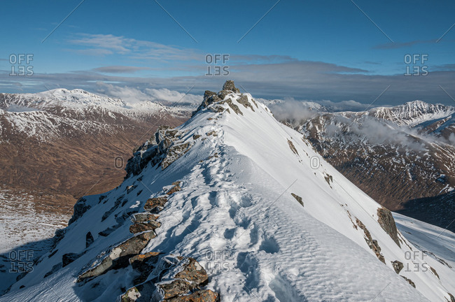 Sgurr a'Bhealaich Dheirg, the highest and finest Munro on the Brothers Ridge, above Glen Shiel, Highlands, Scotland, United Kingdom, Europe