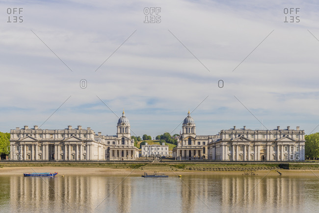 June 2, 2020: Old Royal Naval College, UNESCO World Heritage Site, and River Thames, Greenwich, London, England, United Kingdom, Europe