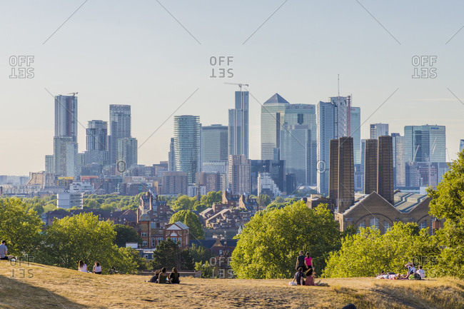 June 2, 2020: Canary Wharf Cityscape, Greenwich, London, England, United Kingdom, Europe