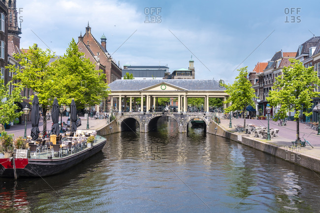 Koornbrug bridge in the heart of Leiden old city by the city hall, Leiden, South Holland, The Netherlands, Europe