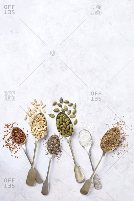 Seeds and seasonings on spoons with negative space