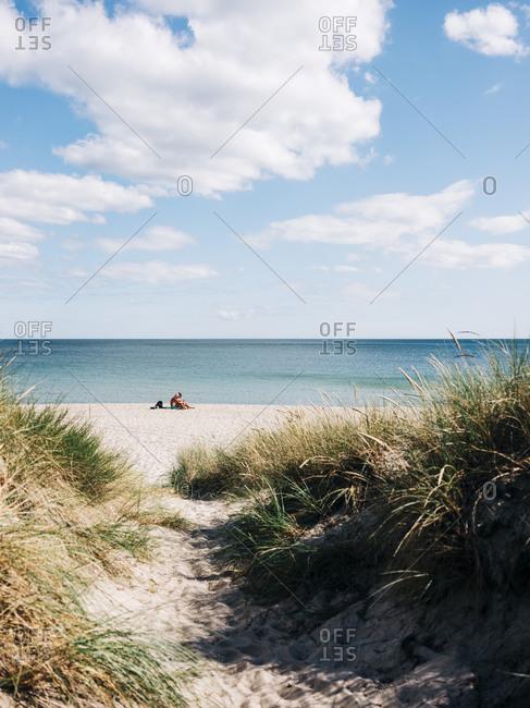 Osterlen, Sweden - July 20, 2020: Sandy bath leading to beach on the coast of Sweden