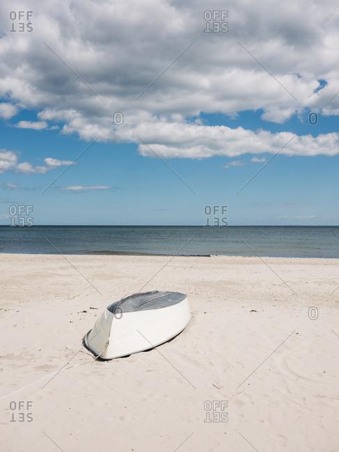 Boat upside down on a beach