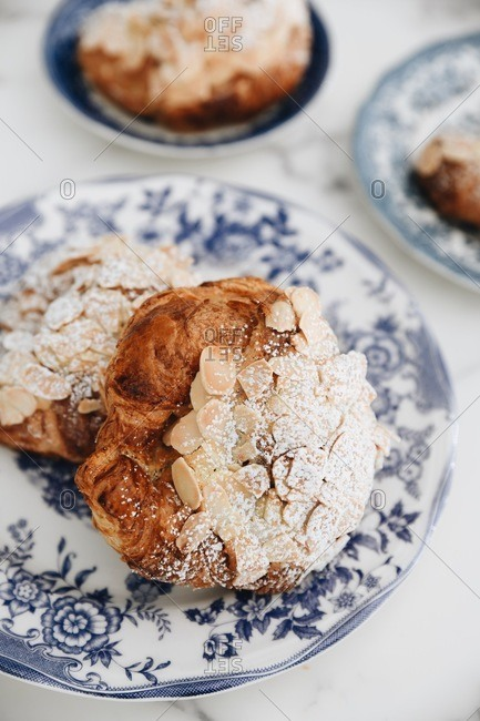 Almond pastries on fancy plates