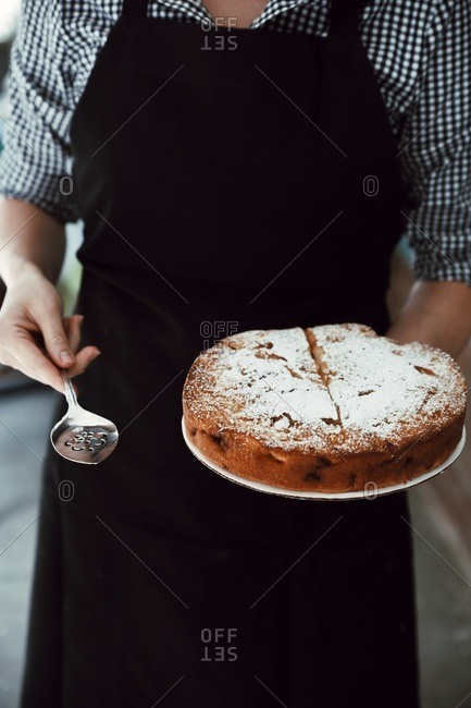 Person holding cake topped with powdered sugar