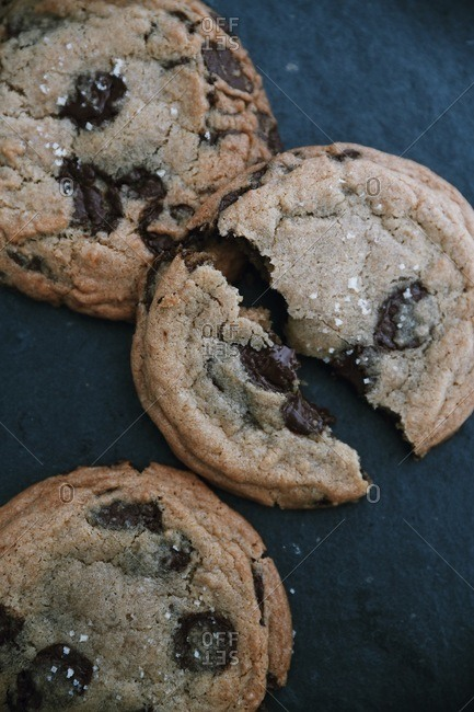 Chocolate chip cookies on dark background