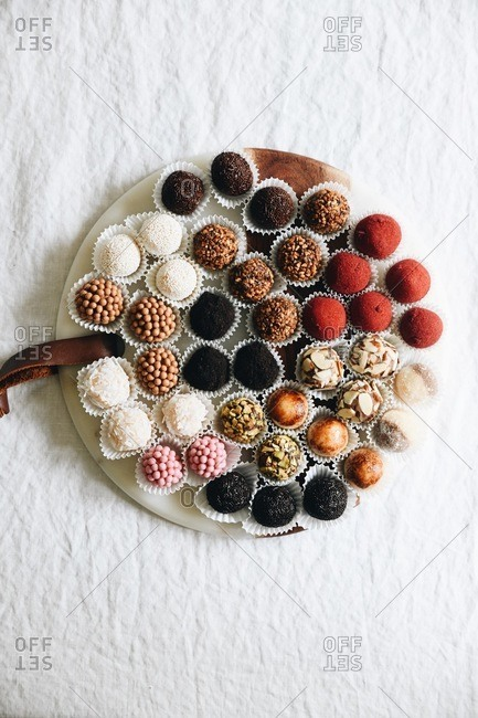 Variety of Brazilian brigadeiros from above