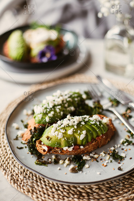 Avocado and cheese on toast