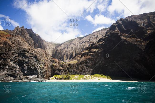 Na Pali Cliffs seen from the Pacific Ocean, Kauai, Hawaii