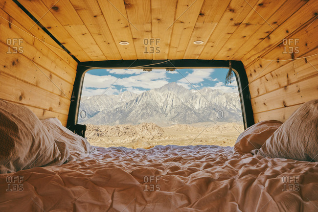 Views of mountain range from sprinter van in northern California.