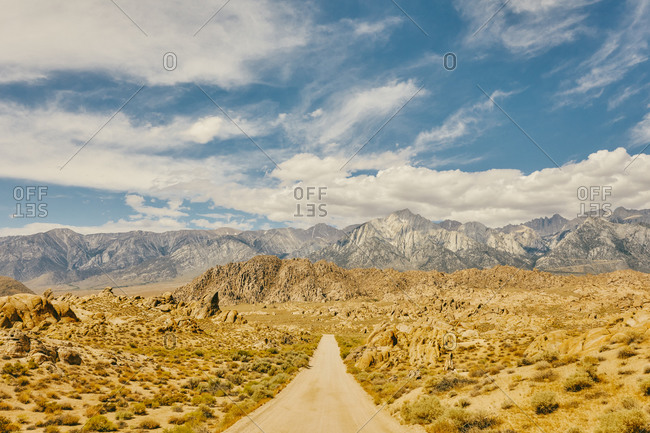 Deserted road near foothills of Alabama Hills in northern California.