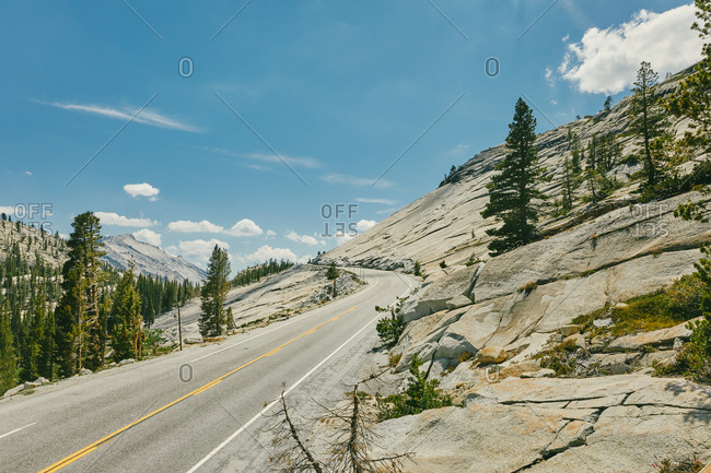 Winding empty highway in Yosemite National Park in northern California.
