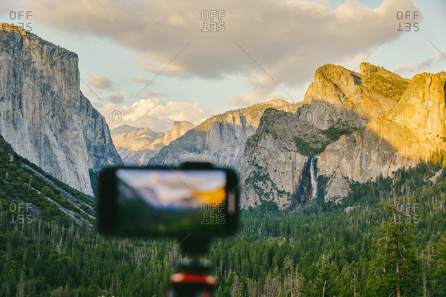 Phone taking picture of Yosemite National Park in northern California.