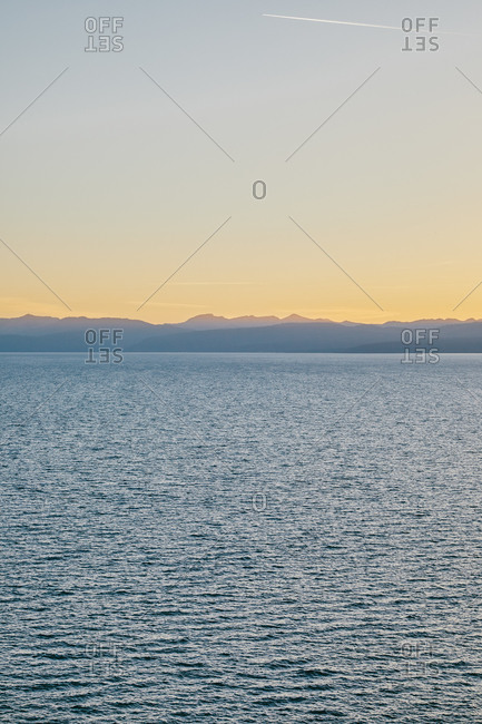 Views of sunset over Lake Tahoe in northern California.