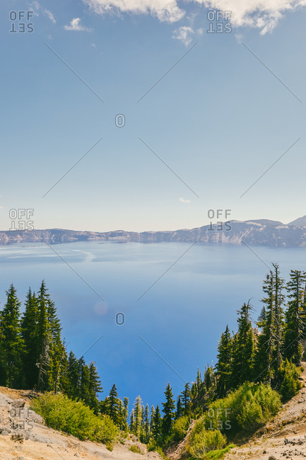 Landscape views of Crater Lake in Oregon during the summer.