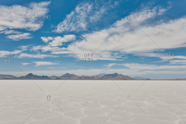 Landscape of Bonneville Salt Flats in Utah during a summer road trip.