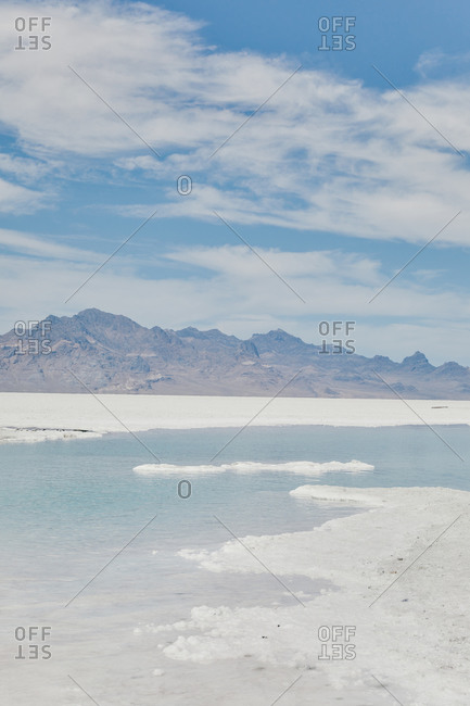 Lake in the Bonneville Salt Flats in Utah during a summer road trip.