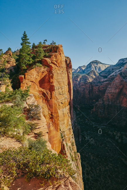 Views of Zion Park mountains from Angel's Landing during summer.