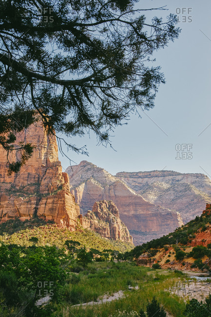Zion National Park mountains from Angel\'s Landing during summer.