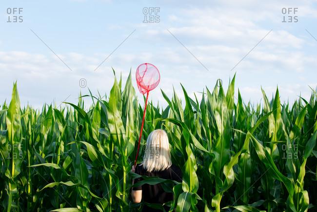 Blonde woman in black dress with butterfly net in cornfield