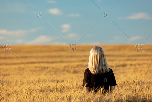 Blonde woman in black dress in wheat field in autumn season time
