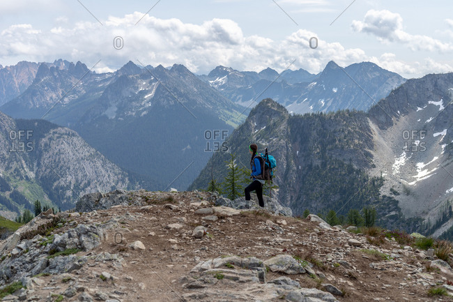 Hiking scenes in the North Cascades wilderness.