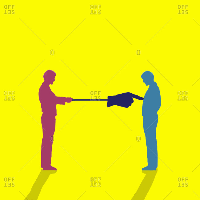 Social distancing, conceptual illustration. Two men one with a pole and large hand keeping the other man at the distance.