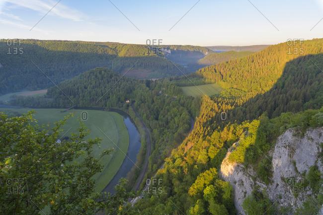 View at danube river, Oberes Donautal (Upper Danube valley), Irndorf, Beuron, Swabian Alb, Baden-Wurttemberg, Germany