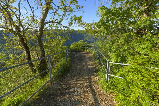 Viewpoint Eichfelsen in spring, Oberes Donautal (Upper Danube valley), Beuron, Irndorf, Swabian Alb, Baden-Wurttemberg, Germany