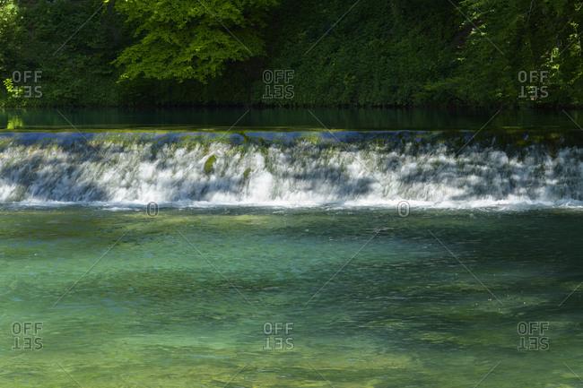 Water rich source of the river blue, Blautopf, Blaubeuren, Swabian Alb, Baden-Wurttemberg, Germany