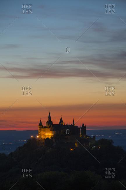 Burg Hohenzollern at sunset, view from mount Zeller Horn, Swabian Alb, Swabian Jura, Bisingen, Baden-Wurttemberg, Germany