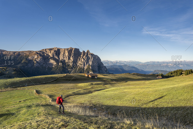 Alpe di Siusi, Castelrotto, South Tyrol, Bolzano province, Italy, Europe. Sunrise on the Puflatsch above the Alpe di Siusi with a view of the Sciliar
