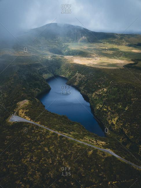 Azores, Flores, landscape, lake, drone shot