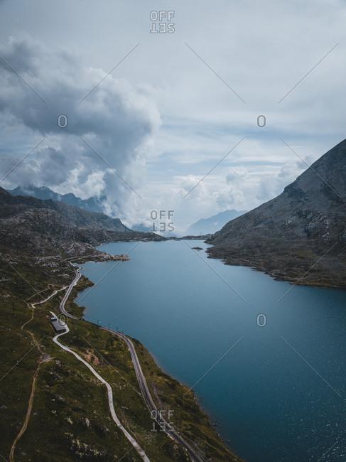 Switzerland, Graubunden, lake at the Bernina Pass