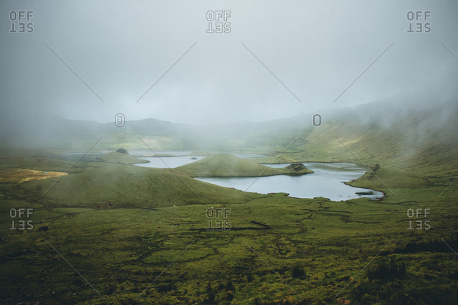 Azores, Corvo, landscape, hills, craters, lake