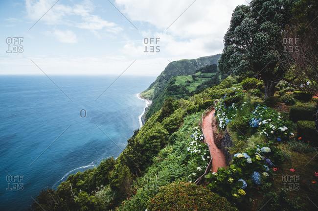 Azores, Sao Miguel, coast, path, sea view